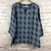 J. Jill PureJill 3/4 Sleeve Dark Blue Linen Blend Top Size XL