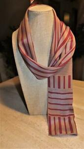 Echo oblong scarf; stripes; SILK; burgundy, gold, mocha-gray; 52 x 11