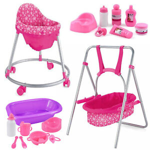 Dolls Furniture Walker, Swing, Dolls Bath Set Feeding Accessories & Care Set