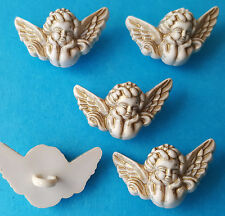 Cream Gold Cherubs - Christmas Angel Christian Church Dress It up Craft Buttons