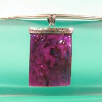 Purple Natural Abalone Paua Shell Pendant 925 Sterling Silver Handmade