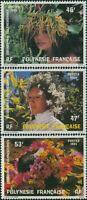 French Polynesia 1984 Sc#400-402,SG433-435 Floral Headdresses set MNH