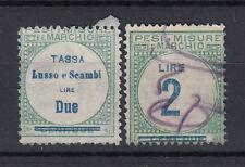 1920 MARCHE DA BOLLO TASSA LUSSO E SCAMBI 2 LIRE USATA