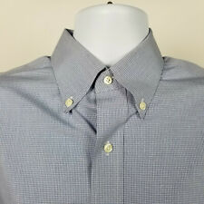 Jos A Bank Traveler Tailored Fit Mens Blue Mini Check Dress Button Shirt 15.5-34