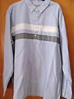 Men's LIGHT BLUE Woven Long Sleeve POLO shirt~SIZE XXL~New W/Tags