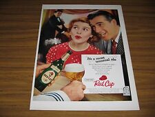 1958 Print Ad Carling Red Cap Ale Happy Couple Singing Man Plays Bass Fiddle