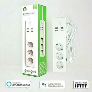 Smart 3fach Multisteckdose 16A 230V + 4x USB 2.1 WiFi ALEXA GOOGLE APP gesteuert
