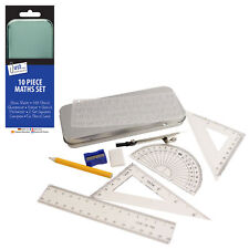 10 pcs Maths Geometry Compass Set School Ruler Protector Square Tin Case Stencil