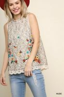 Umgee Floral Embroidered Lace Crochet Hem Sleeveless Top