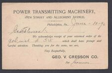 1896 POWER TRANSMITTING MACHINERY RECEIPT OF ORDER, PHILA PA