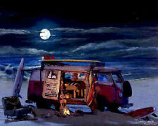 Surf Art ~ Volkswagen VW beach bus ~ campfire under tropical moon
