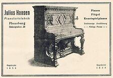 Piano usine Hansen Flensburg südergraben Piano 1923