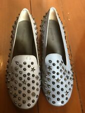 New Progetta Aqua Pale Blue White G540 Ballet Flat Leather Stud Italian Shoes 37
