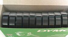 Dymo 3D embossing tape labels x 10 rolls x 9mm x 3m in BLACK