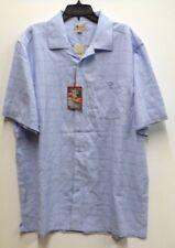 Haggar Mens Size 2XLT Cloud Blue Plaid Easy Care Button Front Shirt New