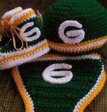 Handmade Crochet Green Bay Packers High Top Booties, Hat & Diaper Cover Set