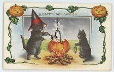 Black Cats Witch Hats Pumpkin Brew Happy HALLOWEEN Clapsaddle? Vintage Postcard