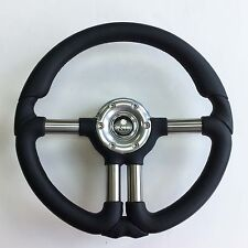 New OEM Gussi Boat Steering Wheel M810 Stainless Steel Spokes Black Urethane Rim