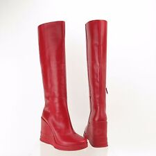 Prada Women's Shoes Red Leather Wedge Knee High Boots Size 7, EU 38 NEW! $1750