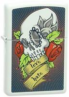 Zippo Skull and Rose Pocket Lighter, White Matte - 28859
