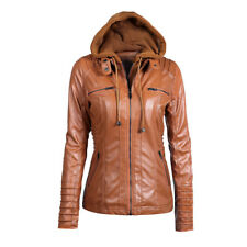 Ladies Womens PU Leather Jacket Hooded Motor Coat Winter Outwear Parka Overcoat