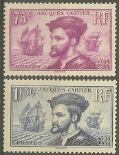 """FRANCE STAMP TIMBRE N°296/297 """" CARTIER, BATEAU, CANADA 1934 """" NEUF xx TB"""