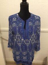 Talbot Ladies blue/white shirt.  L. 100% rayon NWT