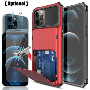 For iPhone 12 Pro Max / 12 mini Wallet Card Holder Case Camera Screen Protector