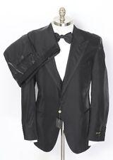 CORNELIANI Black Striped Wool 3PC Tuxedo Tux Suit 56 7R 46 46R fits 44R NWT!