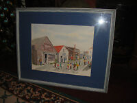 Water Color Painting Signed Ramage Small Downtown Store Vintage USA Town