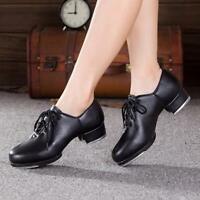 BLACK Leather Jazz Tap Oxford Dance Shoes Unisex Lace Up Jazz Tap Shoes