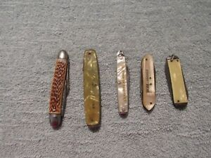 FIVE OLD KNIVES SOME FOR PARTS CELLULOID HANDLES SOME JUST NEED CLEANING