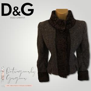 Dolce & Gabbana Grey Tweed Astrakhan Lamb Fur Collar Jacket IT 38 UK 6 EU 34