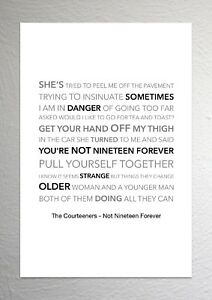 The Courteeners - Not Nineteen Forever - Colour Print Poster Art