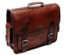 Men's Vintage 100% Real Leather Military Large 18 Laptop Shoulder Messenger Bag