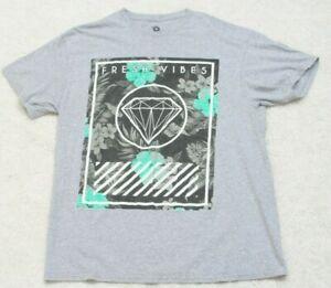 Fidge Tees Fresh Vibes Gray Black Tee T-Shirt Large Short Sleeve Top Cotton Mans