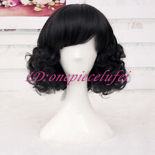 Snow White Wig full curly wave black hair wigs cosplay anime wig +a wig cap