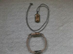 men - stainless steel - picture jasper pendant with chain and bracelet
