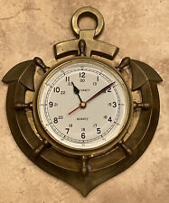 Vintage Accuracy Nautical Time Clock Heavy Brass Style Ships Wheel Glass