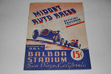 Midget Auto Races Program, San Diego Balboa Stadium, Oct 16 1946, Original