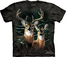 """NEW - The MOUNTAIN T-Shirt """"Among The Pines"""" Deer in Woods Adult Size XL"""