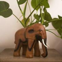 Wood Effect Elephant Garden Ornament Animal Sculpture Statue Gift Outdoor Indoor