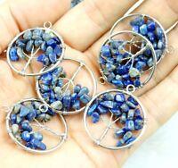Natural Gemstone lapis lazuli beads 7 Chakra Healing Tree of Life Pendant