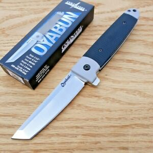 "Cold Steel Oyabun Folding Knife 3.5"" 4034 Steel Tanto Blade Black Kry-Ex Handle"