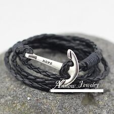 Women Men Silver Steel Sailor Anchor Braided Cord Woven Leather Bracelet