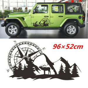 1 Pair Compass Mountain Graphics Vinyl Decal Car SUV Body Side Stickers 96x52CM