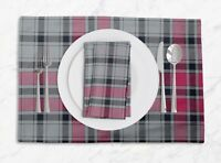 S4Sassy Gingham Check Printed Reversible Tablemats With Napkins Set-CH-12C