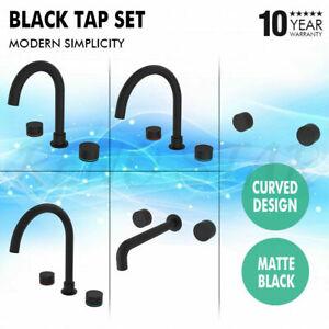 Matt Black Tap Set Curved Modern Simplicity Design for Kitchen Bathroom Laundry