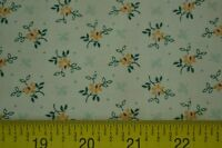 By 1/2 Yd, Yellow & Green Calico on Cream, Quilting, Springs Industries, M7159
