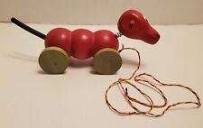 Vintage Red Wooden Dog Pull Toy on Wheels